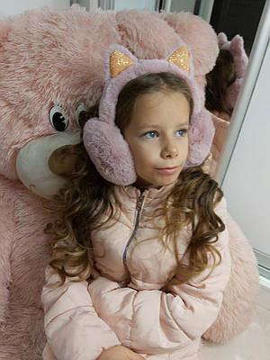 Теплые меховые наушники для девочки Kitty пудра
