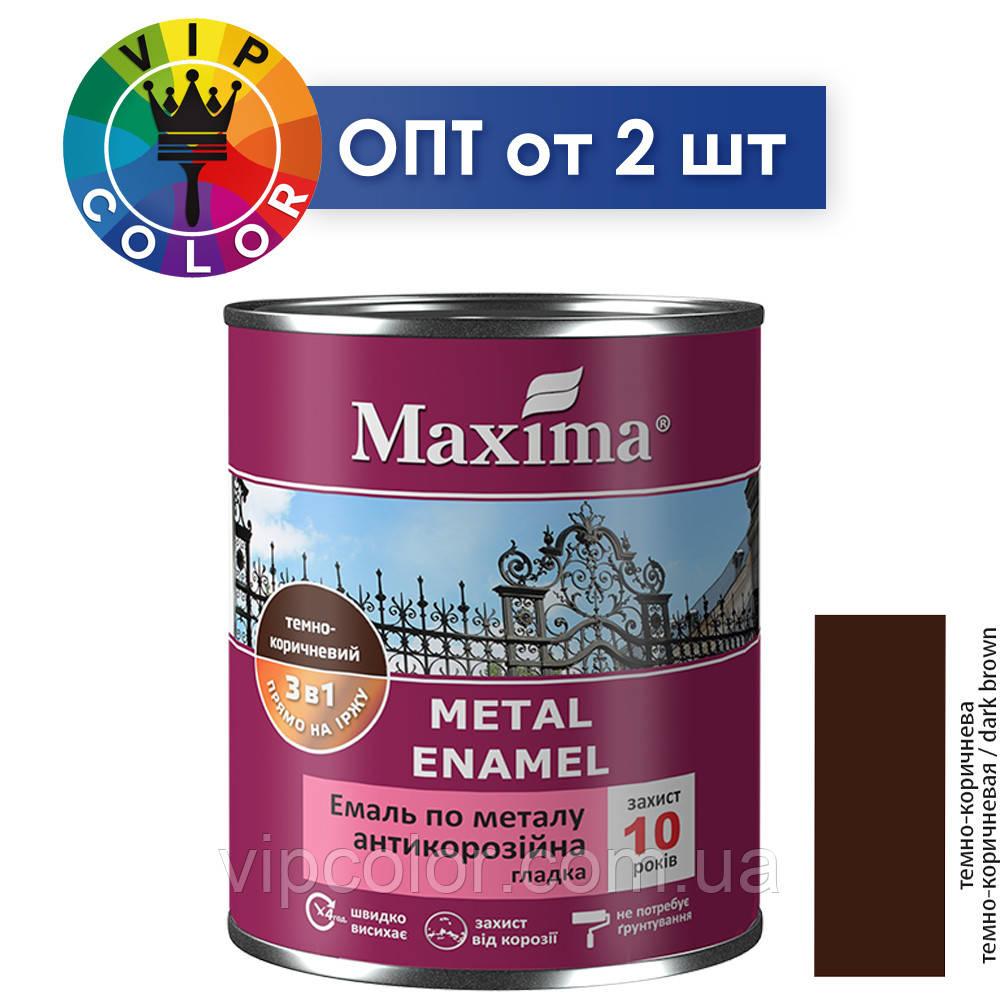 Maxima эмаль антикоррозийная по металлу 3в1 гладкая - темно-коричневый, 2.5 л