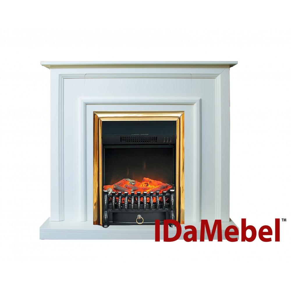Пристенный каминокомплект IDaMebel Adele Белый Fobos Brass эффект пламени со звуком и обогревом