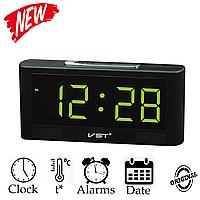 Настільні електронні годинник VST 732 зелена підсвітка