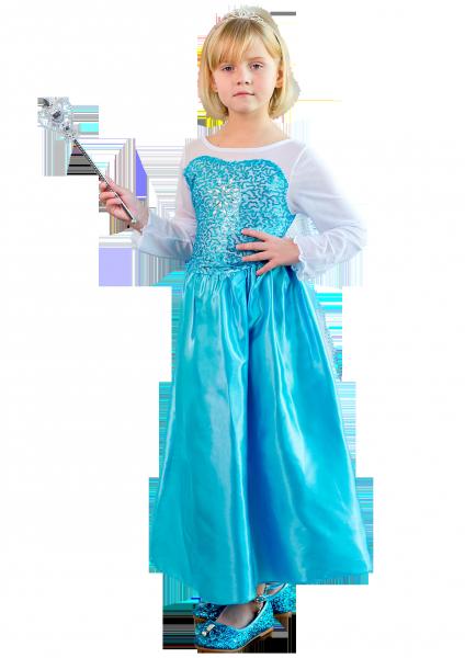 Новогодний костюм Фрозен с длинной накидкой и шлейфом