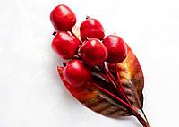Бутоньерка Ягоды Красные на проволоке с листиками, декоративные ягоды