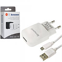 Сетевое зарядное устройство СЗУ Lenovo YJ-06 адаптер 1USB/2A + кабель microUSB белый, фото 1
