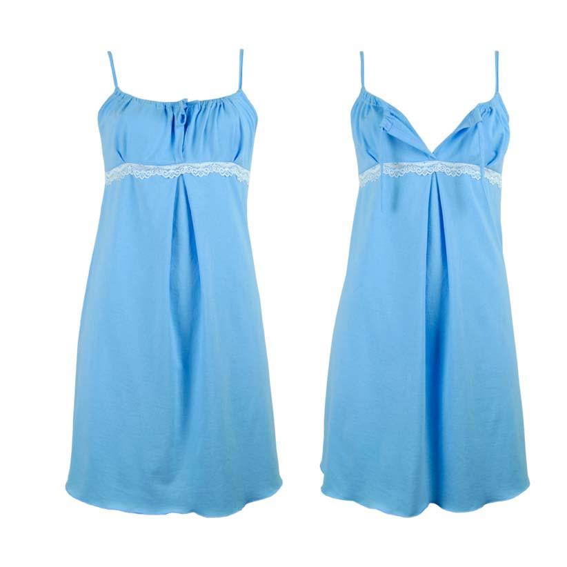 Ночная рубашка для беременных хлопковая голубая