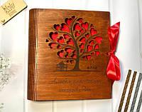 """Фотоальбом в деревянной обложке с гравировкой """"Альбом для теплих спогадів"""" с именем (красное дерево)"""