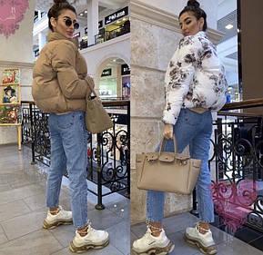 .Модная теплая короткая стеганая дутая двусторонняя куртка M, L, XL, фото 2