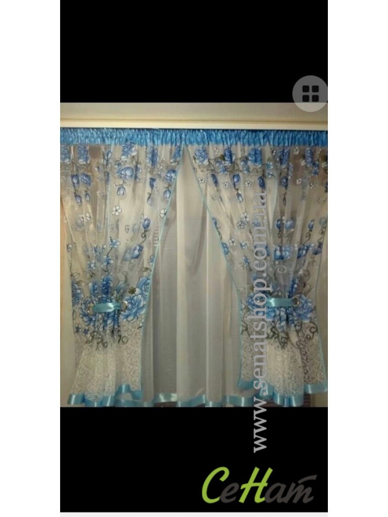 Готова Фіранка кухонні Тюль + 2 штори Органза + Шифон Колір Блакитний