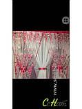 Готова Фіранка кухонні Тюль + 2 штори Органза + Шифон Колір Блакитний, фото 3