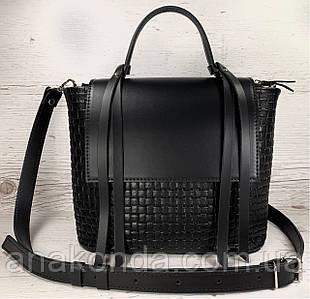 700 Натуральная кожа, Женская кожаная сумка черная через плечо кросс-боди среднего размера с тиснением 3D