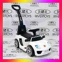 Детский электромобиль толокар на аккумуляторе 2 в 1 с ручкой и кожаным сиденьем, Porsche M 3592L белый