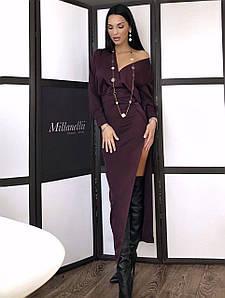 Стильное длинное облегающее платье с разрезом 42-44 р