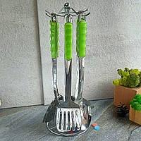 Набор кухонных принадлежностей из нержавейки на стойке (салатовая ручка) 6 шт