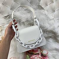 Маленькая женская сумка с толстой акриловой цепью Chrais Kcith белая, фото 1
