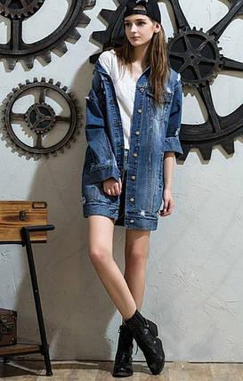 Куртка джинсовая удлиненная с карманами на пуговицах, фото 2