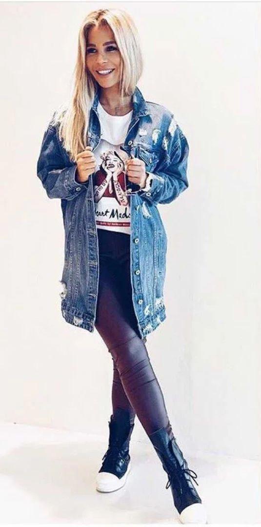 Куртка джинсовая удлиненная с карманами на пуговицах
