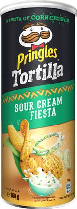 Кукурудзяні чіпси Pringles Tortilla Sour Cream Fiesta Сметана з цибулею 160 г, фото 2