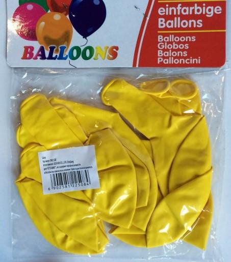 Куля повітряна 30 см стандарт жовтий 10 шт/упаковка щільні