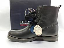 Стильные зимние кожаные полусапоги-ботинки Bertoni