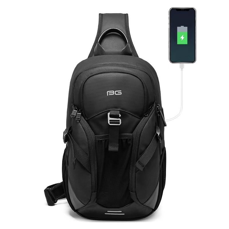 Городской однолямочный рюкзак через плечо Bange BG77120, с USB портом и двумя отделениями, влагозащищённый, 6л