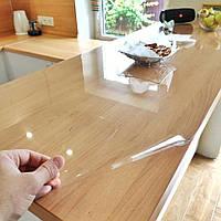 Мягкое стекло 0.6 мм 100*100 см силиконовая прозрачная скатерть на стол, ПВХ Силиконовая скатерть, фото 1
