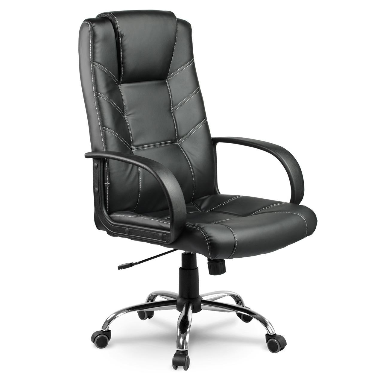 Кожаное офисное кресло Eago EG-221 чёрное