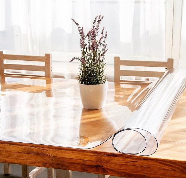 Мягкое стекло 1 мм 95*110 см силиконовая прозрачная скатерть на стол, ПВХ Силиконовая скатерть