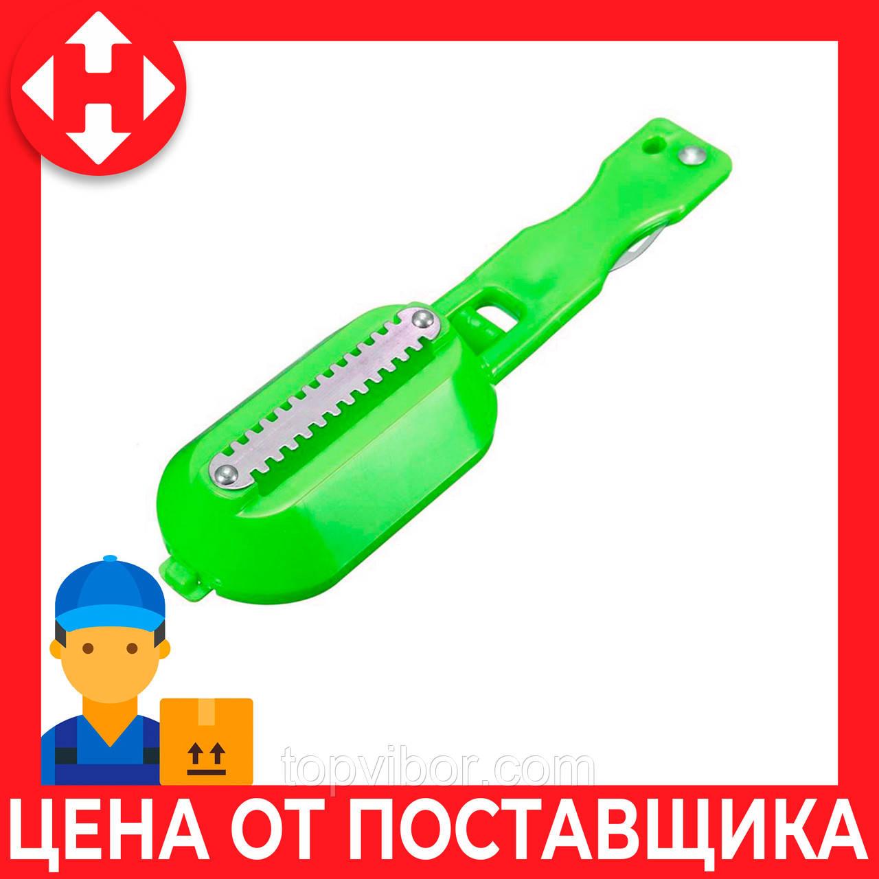 Распродажа! Скребок для чистки чешуи Fish Sharpener зеленая, ручной нож с контейнером для чистки рыбы