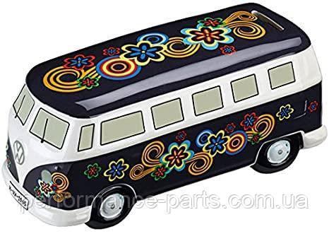 Копилка для мелочи в форме Volkswagen Bulli T1 Spardose - Flower Power Dark, Moneybox, артикул 211087709E