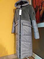 Куртка-пальто женская с большими карманами и вставками с эко-меха