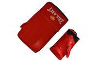 Снарядные перчатки (блинчики) Кожа MATSA MA-0036-R (р-р S-XL, манжет на резинке, красный)