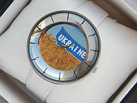 Мужские (Женские) кварцевые наручные часы с украинской символикой на кожаном ремешке, фото 1