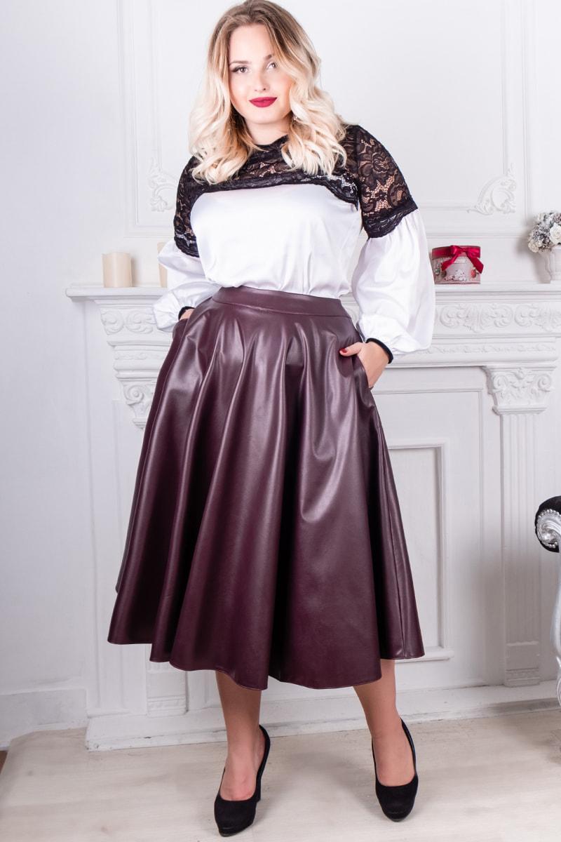 Батальная расклешенная юбка  Мелисса, бордовая