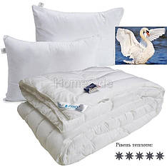 Одеяло зимнее 200x220 Лебединый Пух + 2 подушки 50х70 двуспальное евро