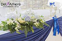 Оформление зала с голубым цветом в синей гамме