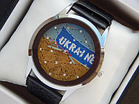 Мужские (Женские) кварцевые наручные часы с украинской символикой на кожаном ремешке со стразами