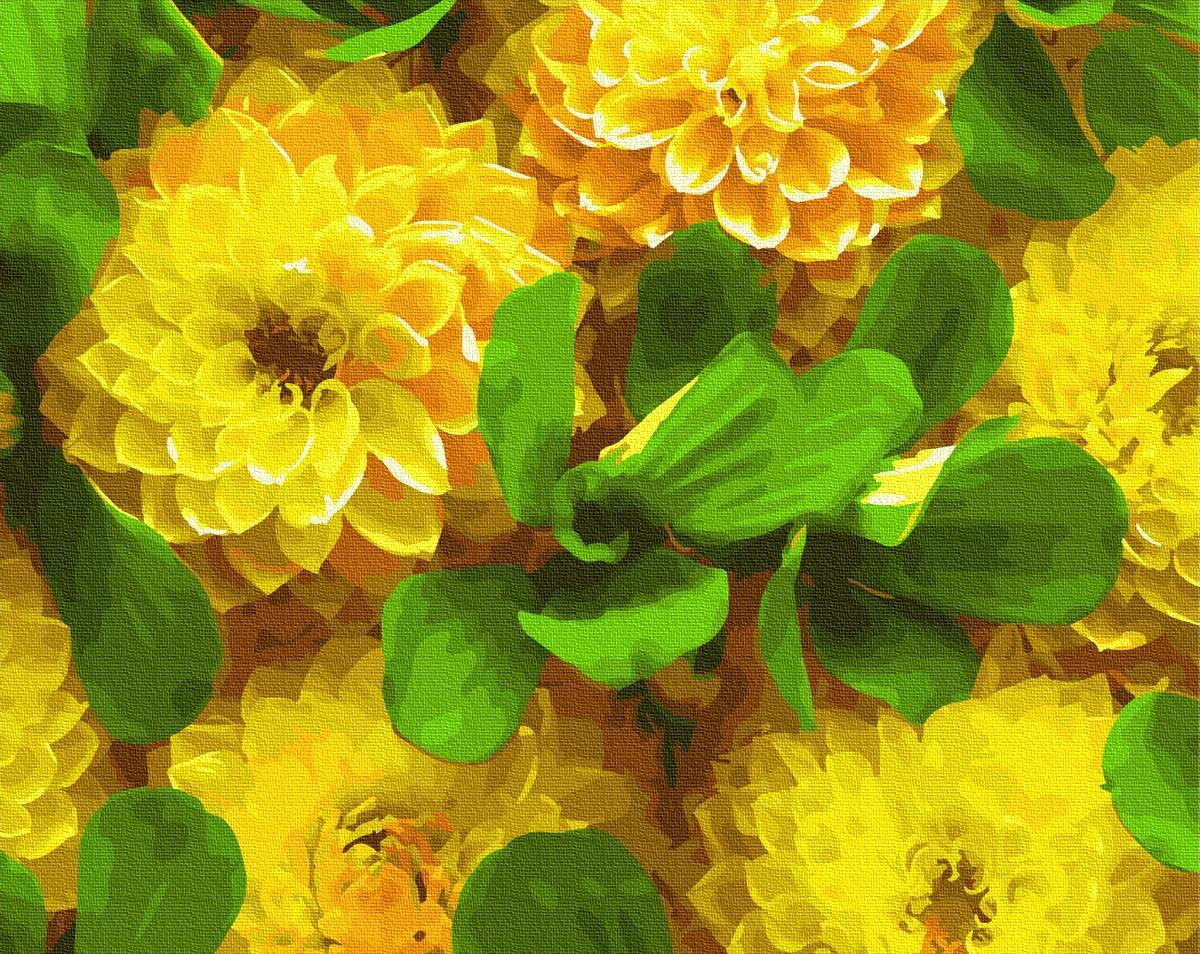 Картина за номерами Желтые георгины GX27272 40х50см набір для розпису, фарби та пензлі набір для розпису,