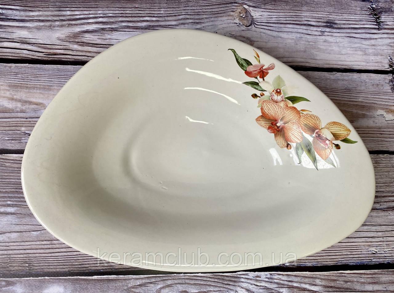 Блюдо для вареников белое с деколью 32 см