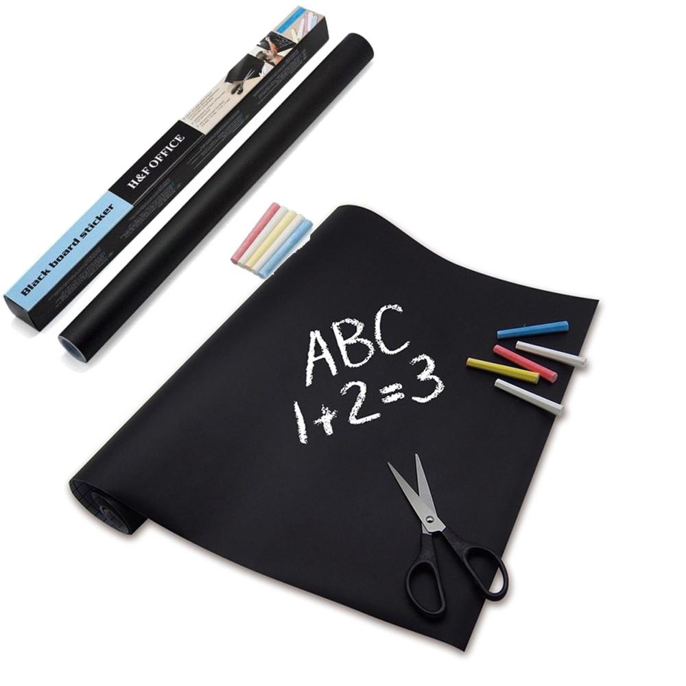 Складная доска стикер для рисования мелом Office Board Sticker + 5 мелков Черная поверхность наклейка