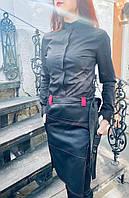 Женская рубашка для официанта и бармена черного цвета с длинным рукавом
