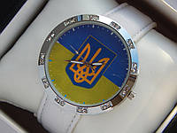 Мужские (Женские) кварцевые наручные часы с украинской символикой на кожаном ремешке со стразами, фото 1