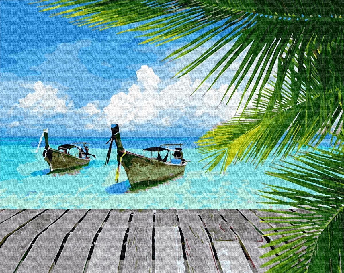 Картина за номерами Райське побережжя GX34092 40х50см набор для росписи Набережные и побережья