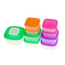 Набір пластикових контейнерів для зберігання продуктів з кришкою - 10 шт.