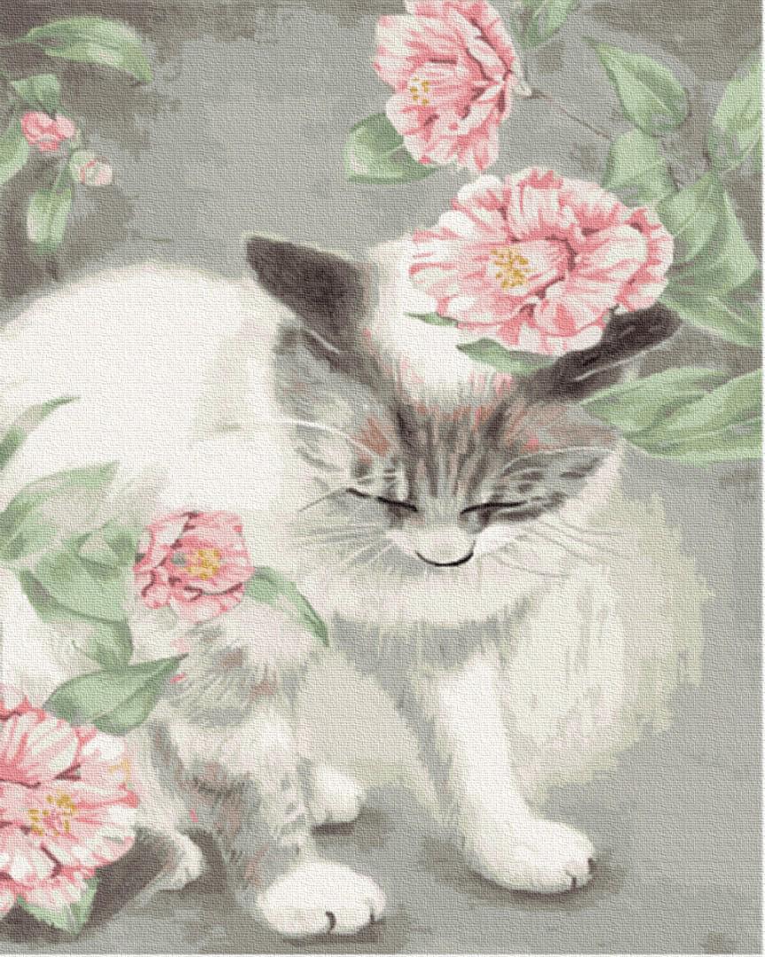 Картина за номерами Кошка в цветах GX35652 40х50см набір для розпису, фарби та пензлі набір для розпису, фарби