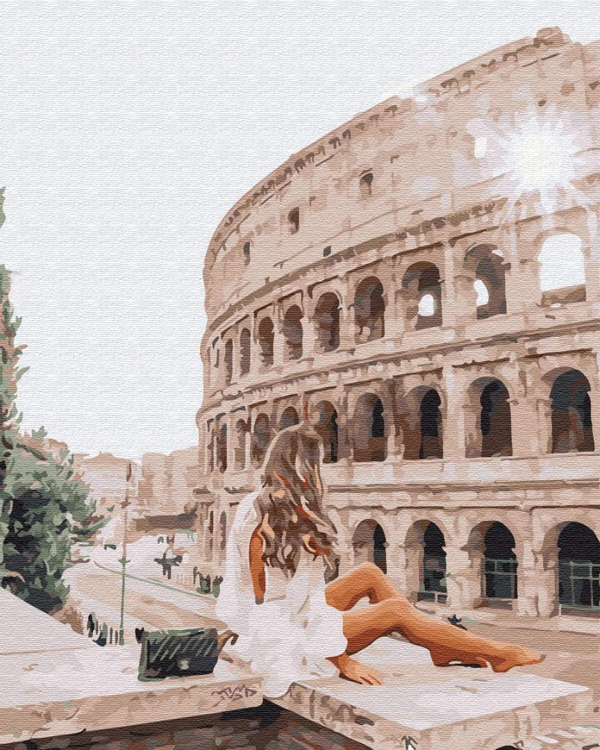 Картина за номерами Путешественница в Риме GX34137 40х50см набір для розпису, фарби та пензлі набір для