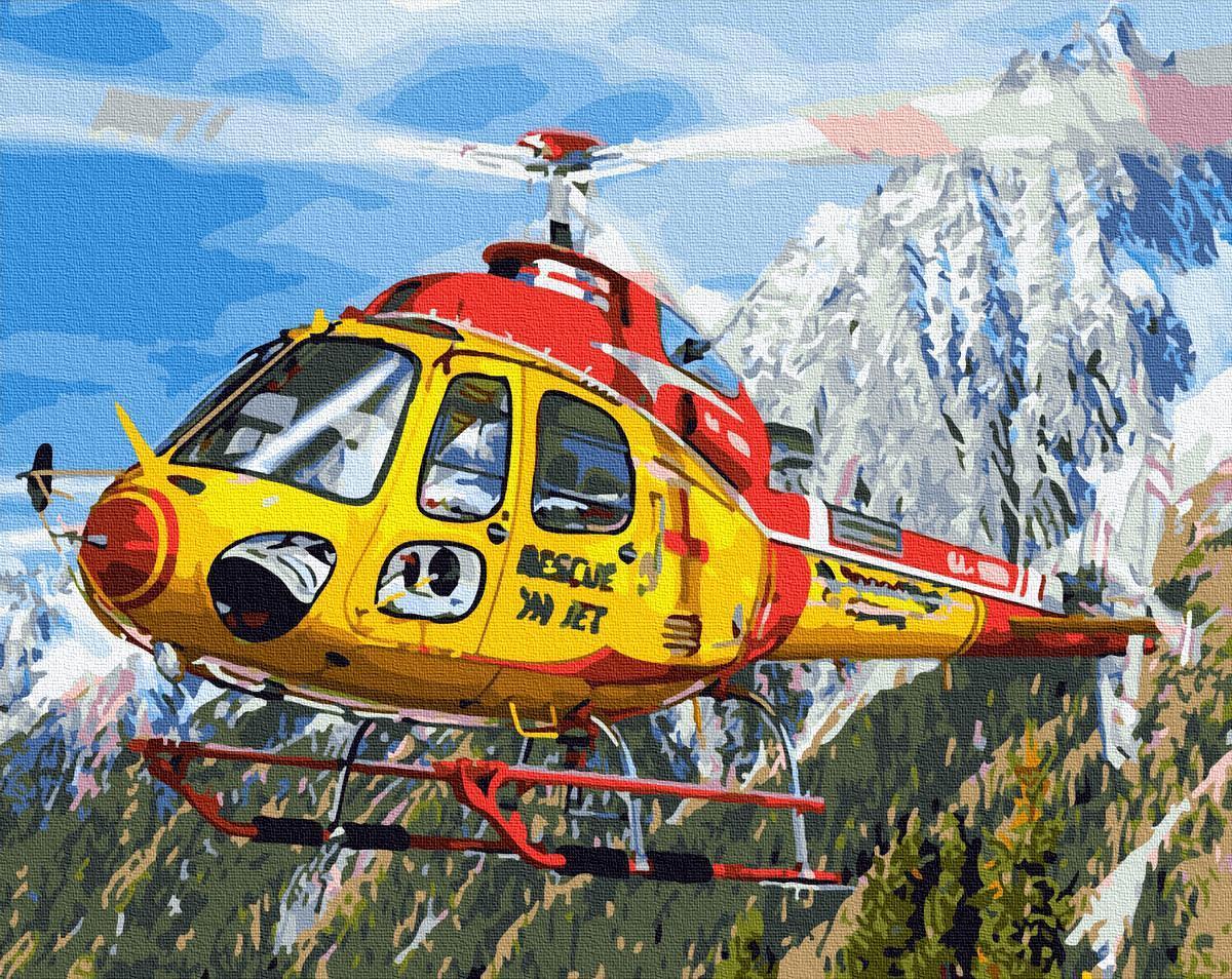 Картина за номерами Вертолет в Альпах GX27500 40х50см набір для розпису, фарби та пензлі набір для розпису,