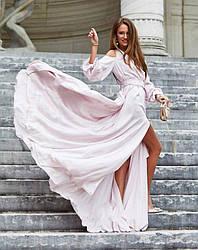 Вечернее платье в пол с разрезом и декольте шелк