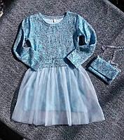 НЕДОРОГО качественное демисезонное нарядное платье с длинным рукавом на девочку, фото 1