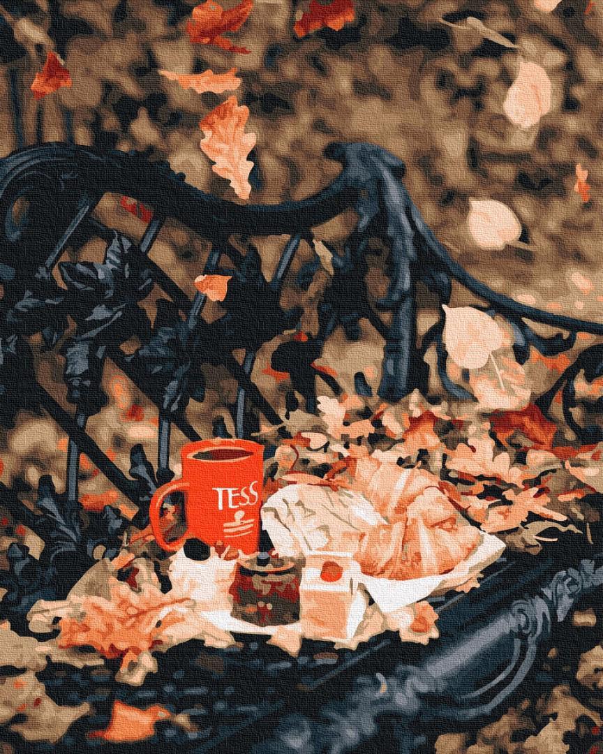 Картина за номерами Осеннее чаепитие в парке GX25456 40х50см набір для розпису, фарби та пензлі набір для