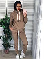 Костюм женский тёплый на флисе с капюшоном и карманом, фото 3