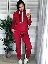 Костюм женский тёплый на флисе с капюшоном и карманом, фото 2